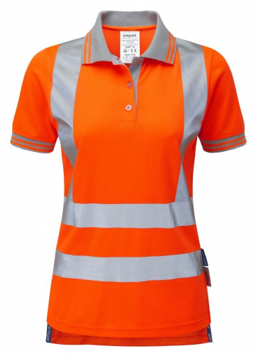 Pulsar PR701 Ladies Rail Spec Short Sleeve Polo Shirt (High Vis Orange)